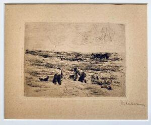 """Max Liebermann """"Kartoffelarbeiter"""" 1896, signiert u.r., Kupferdruckpapier."""