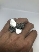 Vintage MOP Butterfly Ring Real Marcasite 925 Sterling Silver Size 6
