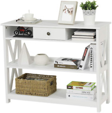 Entryway Hallway 3-Tier Sofa Side Console Table with Drawer & Storage Shelves US