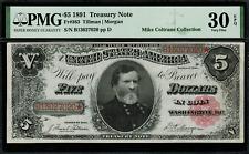1891 $5 Treasury Note - FR-363 - Graded PMG 30 EPQ - Very Fine
