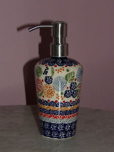 Polish Pottery Lotion or Soap Dispenser!  UNIKAT Paper Lanterns Pattern!