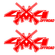 2 RED 4x4 Decals Stickers Ford Chevy RAM 1500 2500 f150 f250 jeep AR15 M4 decal