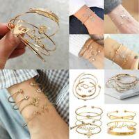3/4pcs Fashion Women Gold/Silver Plated LOVE Heart Bracelet Jewelry Cuff Bangle
