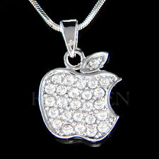 w Swarovski Crystal Simple JUICY APPLE Fruit Charm pendant Chain Necklace Xmas