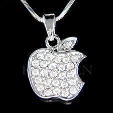 w Swarovski Crystal Simple JUICY APPLE Fruit Charm pendant Chain Necklace Xmas