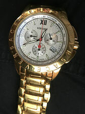 Versace wrist watch men's gold chronograph swiss tach date 3 sub dials works o