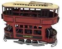 Vintage Classic Trolley Tram Double Decker Bus Tin Metal 37cm Length Collectible