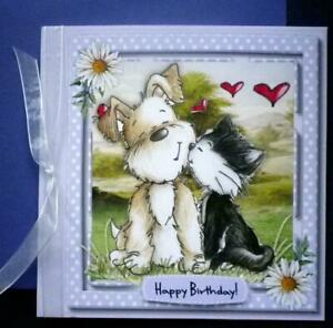 Birthday Card with cute cat and dog
