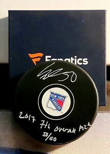 Rangers Lias Andersson Signed Autographed Puck Fanatics New In Box Inscription