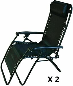 2 X Black Recliner Chair Zero Gravity Outdoors Patio Garden Redwood Leisure