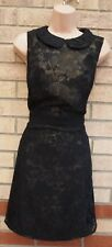 MONSOON FUSION BLACK GOLD GLITTER  FLORAL LACE PARTY BODYCON A LINE DRESS 16 XL