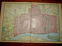 "Vintage 1903 DETROIT MICHIGAN Map 22""x14"" ~ Old Antique Original CORKTOWN MI"