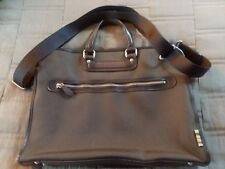 PAUL SMITH Brown Leather Nylon Briefcase Document Business Bag