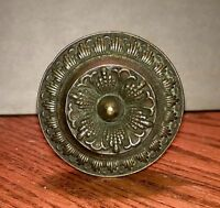 Antique Reclaimed Hardware, Hammer Pressed Brass Ornate Drawer Door Knob Pull