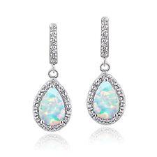Sterling Silver 1ct TGW Created Opal & White Topaz Teardrop Dangle Earrings