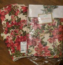 "Bardwill Seasons Poinsettia Tablecloth Christmas Royal Splendor 60"" x 84"""