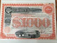 WEST SHORE RAILROAD CO. BOND CERTIFICATE...1951...$1,000...VINTAGE...