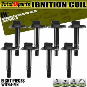 8x Ignition Coil for Audi A6 RS6 C5 A8 4D2 S6 4B2 S8 4D2 quattro 1998-2005 4.2L