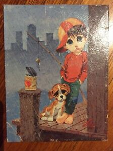 "Vintage Big Eyed Sad Boy And Dog Fishing Print Signed By ""Lee"""