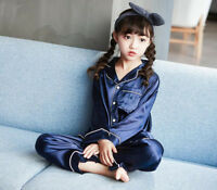 Girls children's silk satin pajamas pajamas set children's home clothes