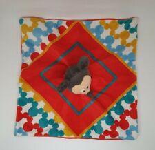 17 - Doudou plat Mickey carré rouge bleu jaune DISNEY NICOTOY NEUF