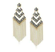 JULES SMITH - Dynasty Chandelier Earrings in Yellow Gold & Black Stones