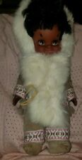 Vintage RELIABLE  Doll Handcrafted  Eskimo Girl w/painted Eyes~Real Fur Coat