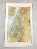 1899 Antique Map of Palestine Israel Jerusalem Old Original 19th Century GERMAN
