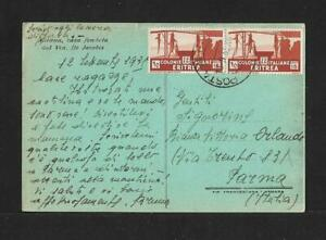 ERITREA TO ITALY AIR MAIL PPC COVER 1935