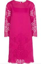 Stella McCartney Pink Embroidered Eyelet Cottonblend Mini Dress 42 NWOT
