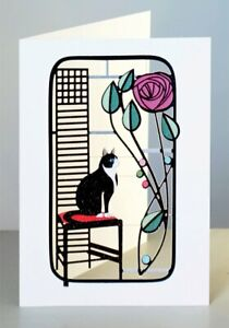 Forever Cards Laser Cut Card Charles Rennie Mackintosh Inspired Black Cat and Ro