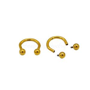 16g 8mm Internally Threaded Titanium Gold Color Horseshoe Circular Barbell
