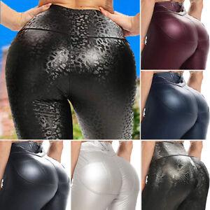 Women Skinny Faux Leather Yoga Pants Butt Lift Sports Halloween Cosplay Leggings