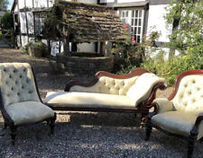 More details for antique 3 piece chaise set - chaise longue plus two chairs