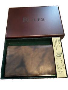 Rolfs Geniune Leather Pocket Secretary W Checkbook New