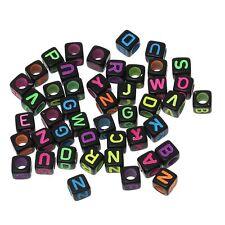 "Rockin Beads 450-900 Mixed Acrylic Alphabet /Letter ""A-z"" Cube Spacer U-Pick"