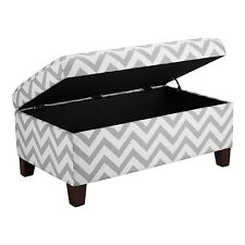 Grey & White Chevron Stripe Padded Storage Ottoman Bench Upholstered Seating