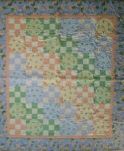 """45""""×50"""" Multi Color, Pastel Floral Quilt, Flowers, Checked, Cottagecore Baby"""