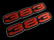 VMS 2 CHRYSLER DODGE 383 CUBIC INCH ENGINE BIG BLOCK ALUMINUM EMBLEM RED BLACK