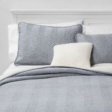 4pc HALLMART COLLECTIBLES Calgary Sherpa Quilt Set | Gray | Full/Queen | 🆕