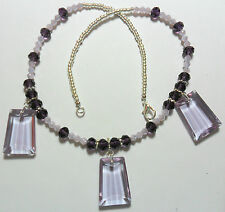 """19"""" necklace, large lilac glass beads"""