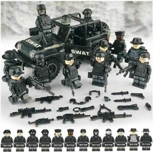 SWAT CAR + 12PC POLICE Military Mini figures Weapon Army Soldier Fit Toys UK