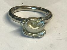 Tea Cup & Spoon TG148 Fine English Pewter on a Scarf Ring