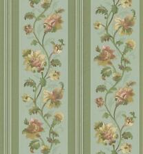 Wallpaper Silk Satin Traditional Floral Stripe on Green Background