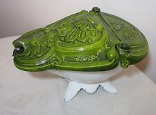 rare antique 1800's French enameled cast iron fireplace coal scuttle bin bucket