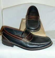 SPERRY TOP SIDER ~  MENS BLACK / BROWN LEATHER LOAFERS~ 9 M