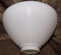 "White Milk Glass 2 1/4"" X 8"" Floor Table Lamp IES Reflector Waffle Shade"