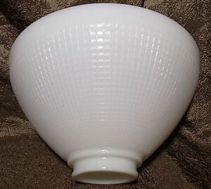 "Milk Glass IES Reflector Lamp Shade 2 7/8"" X 10"" Floor Table Pendant Waffle"