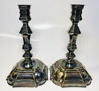 Pair of Antique Denmark Silvered Bronze Candlesticks in Style of 18th Century