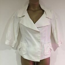Ladies Blazer Jacket Size Large White ZARA WOMAN 100% Ramie Holidays Linen Look